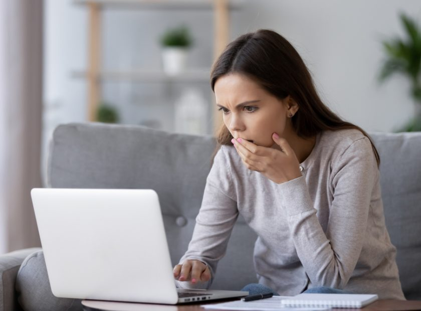 Shocked,Stressed,Young,Woman,Reading,Bad,Online,News,Looking,At